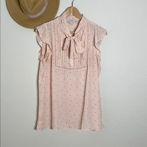Loft Peach Polka Dot Tie Up Neckline Blouse